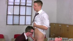 Nerdy Euro twink sucks cock before classroom drilling