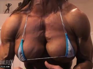 Jacked Female Bodybuilder Pec Flex