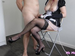 [MINI] Sexy french maid gives handjob with wand, satin gloves, cum on apron