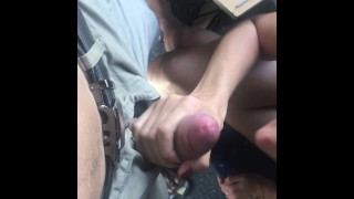Public train blowjob, she didn`t want to pay for ticket so she swallows cum
