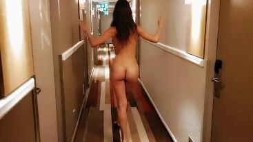 Naked girl walking around the hotel