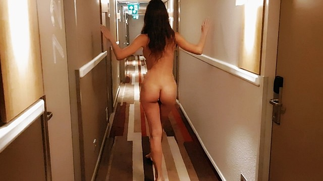 Nude girls walking around Naked girl walking around the hotel