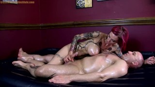 Huge Tit Oil Covered Babe Grinds, Suck and Teases Cock – Anna Bell Peaks