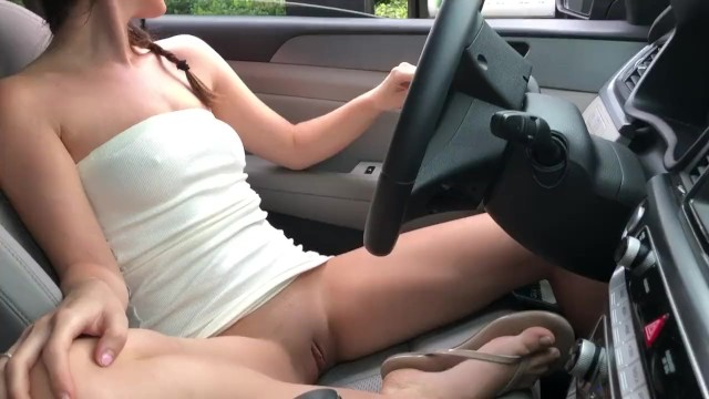 Teens driving used vehicles Unashamed at starbucks drive thru with pussy out public nudity, risky