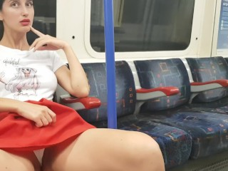 The girl showed that she had under her skirt right in the London Undergroun