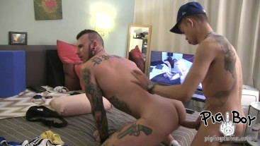 PIGBOY RAW FUCKED AND CREAMPIED BY NASTY BIG DICK PIGGY LATINO