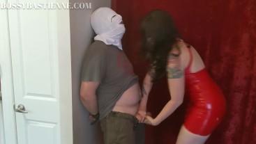 Me + Red Latex Dress + Ballbusting During Orgasm = POST Orgasm Punching!
