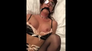 Cuffed and gagged redhead fucked in lingerie