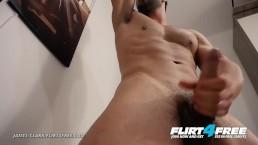 James Clark on Flirt4Free - Bearded Muscle Hunk Jerks His Big Uncut Cock