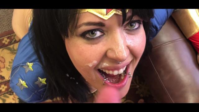Wonderwoman Fucked and gets 3 Facials