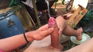 JERKING OFF OUTDOOR, BIG CUMSHOT & MOANING