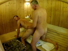 Mature Daddy Breeds Boy in Public Sauna -- Older Younger Bareback Fuck