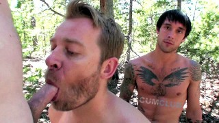 Cum Club: Outdoor Raw Group Fucking – Mountain Barebacking 3-way Cum Swap