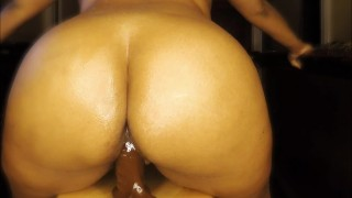 - Thick Ebony Babe Creaming And Riding 8Inch Dildo