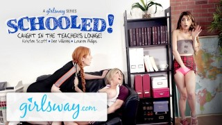 Girlsway Teen Caught in Teachers Lounge by 2 MILFs & Gets Schooled!