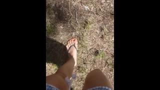 Short Girl Pisses On Tree In Public Park