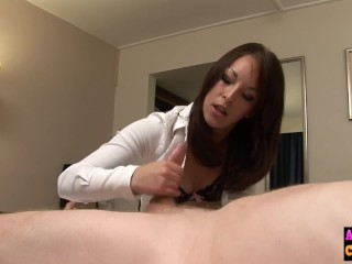 Nasty cfnm sucking on voyeur cock