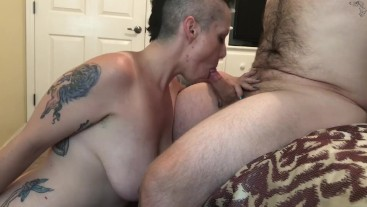 MILF gets Pussy Eaten, Fucked, Gives BJ and gets Cum on Tits