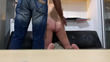 White girl takes a belting and sucks my cock in between