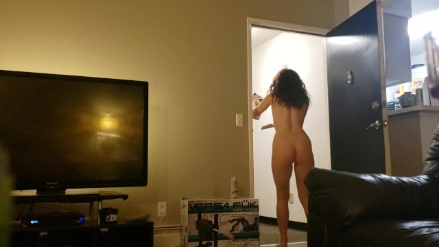 Naked lady answering door vids - Naked slut answers the door