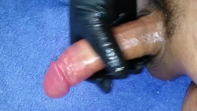 Subacious prominence around shaft of penis Black latex glove, oil and a hard veiny shaft, jerk off and cum on towl