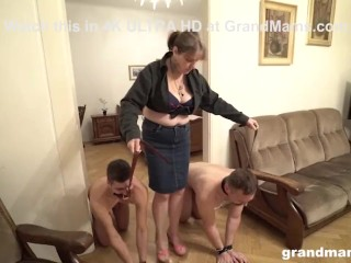 Bossy Granny Owns Two Slaves