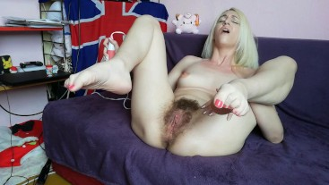 Hairy girl real orgasm compilation 12 wet pulsating orgasm with cute blonde