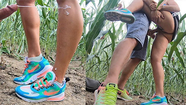 Seed corns on bottom of feet Sporty milf fucked cum showered in corn field, huge cumshot legs sneakers