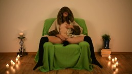 Two orgasms sitting on the chair with buttplug