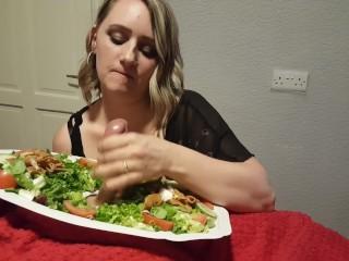 Sucking through the salad Cum Eating