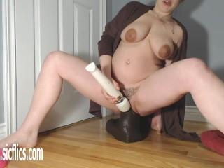 Gigantic BBC Dildo Wrecks Her Pussy