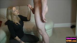 Cock tugging cfnm voyeur babe gives bj