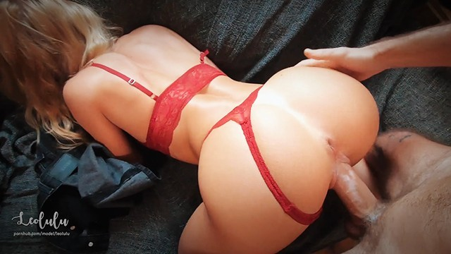 Hot Sexy Girlfriend in red lingerie Fuck & Squirts!! Amateur Couple LeoLulu