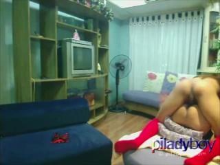 Ladyboy from Phillipines fucking an Asian Chubby woman hardcore