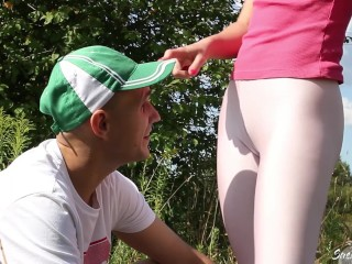 Unexpected Fuck Outdors Athletic girl fucked by a stranger after jogging