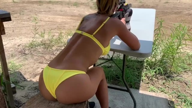 Lingerie models with guns - Fit girl slut shoots guns and blows a load on her face- mandy foxxx