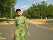 Invisible Nakedness by Jeny Smith. Naked in public with body art.