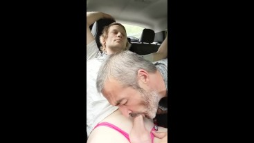 Sucking and swallowing a young straight guy in the car