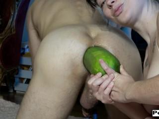 Giant vegetable insertion into his ass HUGE GAPE Michael Vegas