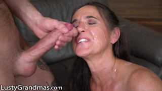 LustyGrandmas GILF Gets Facial from Young Studs Cock