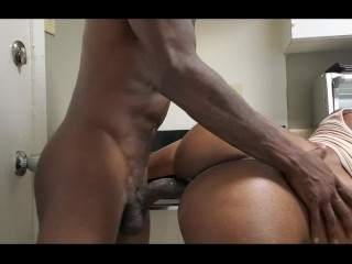 Big Booty Ebony Teen Gets Cum Inside Her While She Trying To Clean Kitchen