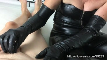 After husband milking ... cum on my leather glove