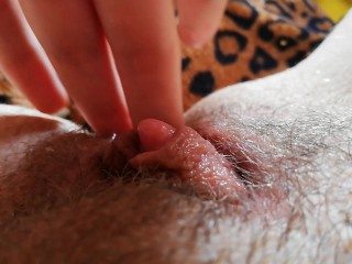 Huge erected clitoris after orgasm grool play close up