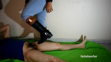 riding boots bootjob, leather, jeans dick trample footjob