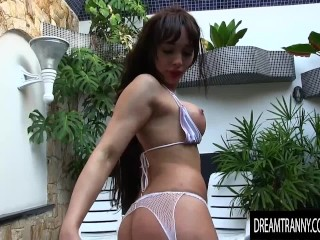 Lactating Tgirl Esmeralda Brazil Gets Creative with Her Asshole