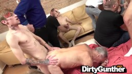 Old Gunther Gets Into Dirty Bareback Orgy