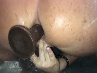 Thick PAWG amateur rides dildo ANAL SOLO doggy e in shower