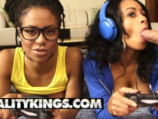 Reality Kings Ebony gamer girls Anya Ivy Kira Noir play with white joy Anya Ivy, Kira Noir, Xander Corvus