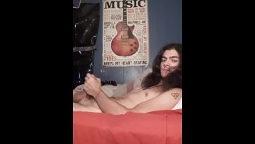 long haired young stoner strokes to huge cum shot
