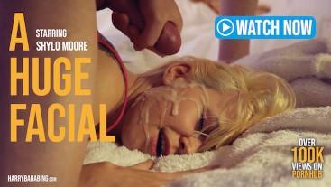 Blonde Girl Gets Huge Facial! (Short Video)